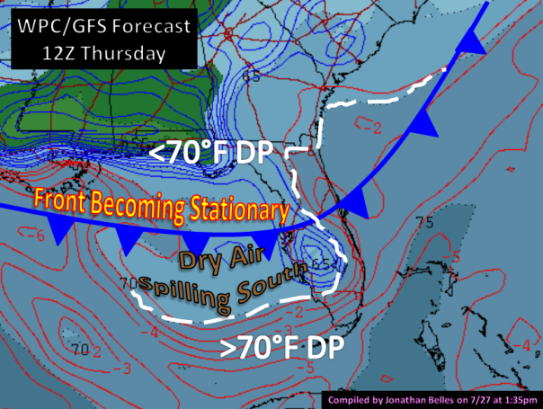 WPC/GFS Depiction on Thursday morning. Dew points are shaded. Lifted index is contoured.