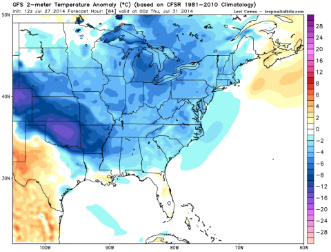 Temperature Anomalies from the GFS on Thursday Morning. In celcius, but the take away from this is that blue/purple is cooler than average air.
