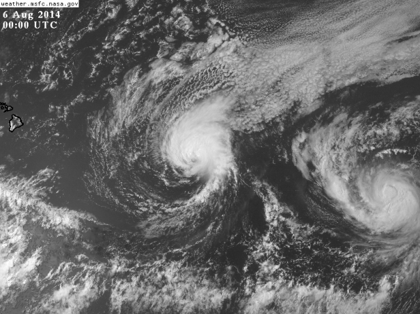 080514 Iselle and Julio Satellite