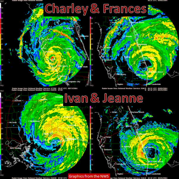 Radar images near landfall of Hurricanes Charley, Frances, Ivan and Jeanne