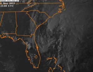 Most recent visible imagery before sunset over the system.