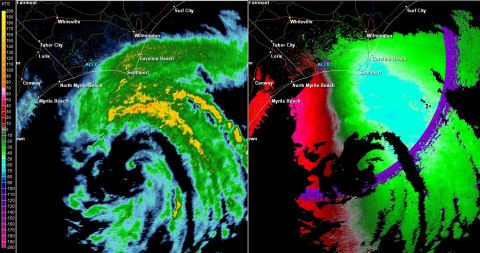 Reflectivity and Velocity from KLTX as of 7:45 PM ET. Blue values on velocity, right, are suggestive of winds in the 60 mph range (+/- 5 mph)