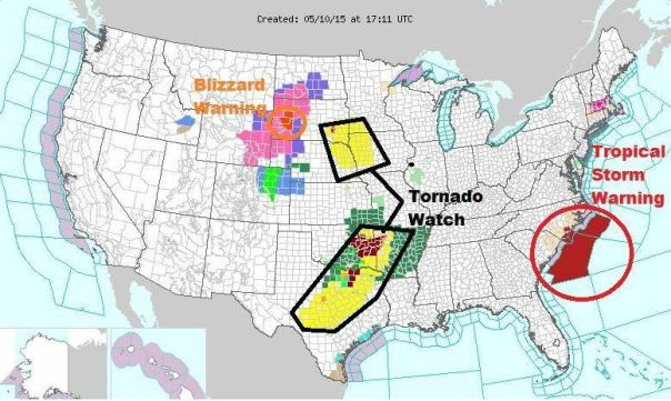 The NWS Watch and Warning map today as edited by Joseph Cooper.