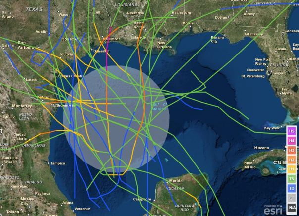 Historic tropical cyclone tracks over the last 150 years that have passed within the current NHC-marked area for possible development during the month of June. From NOAA.
