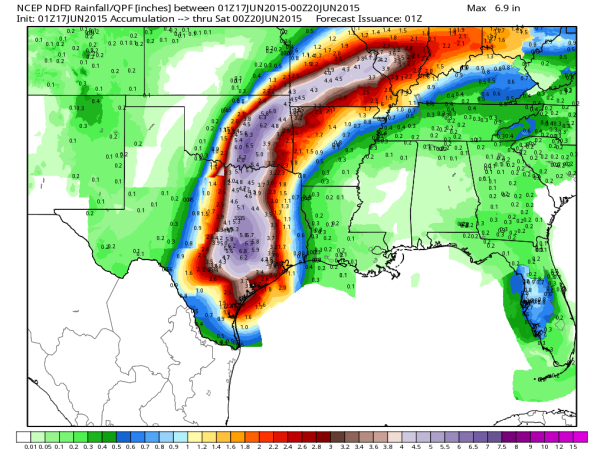 NWS forecast rainfall through Friday at 7pm CT. From WeatherBell.