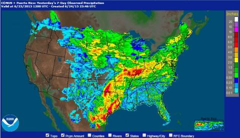 7 day rainfall ending on June 23rd at 7am CT.