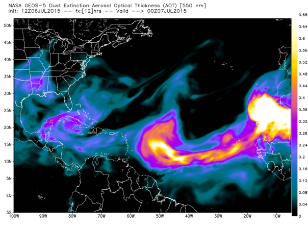 Dust across the Atlantic as modeled by NASA for this evening.