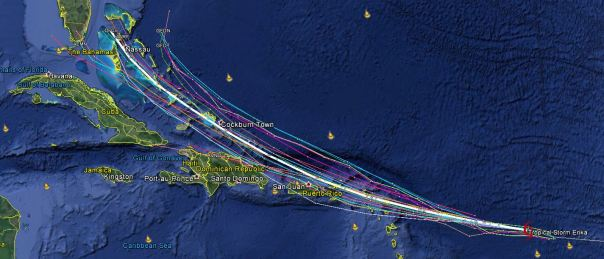 Selected 00z models. Official NHC track in white