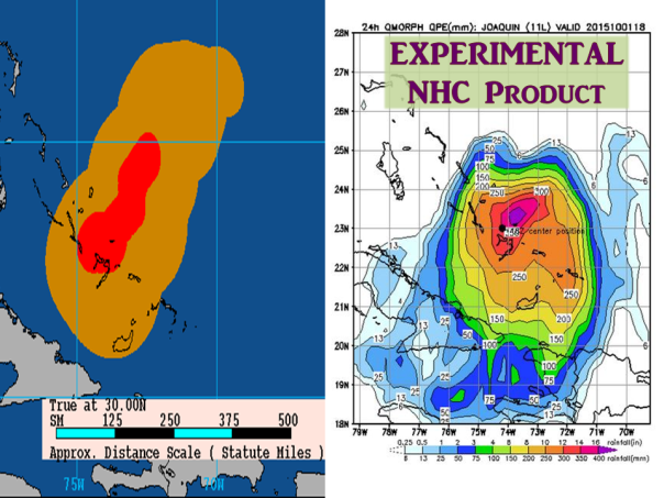Left: Past Joaquin tropical storm force winds in orange and hurricane force winds in red. Right: NHC experimental 24 hour rainfall
