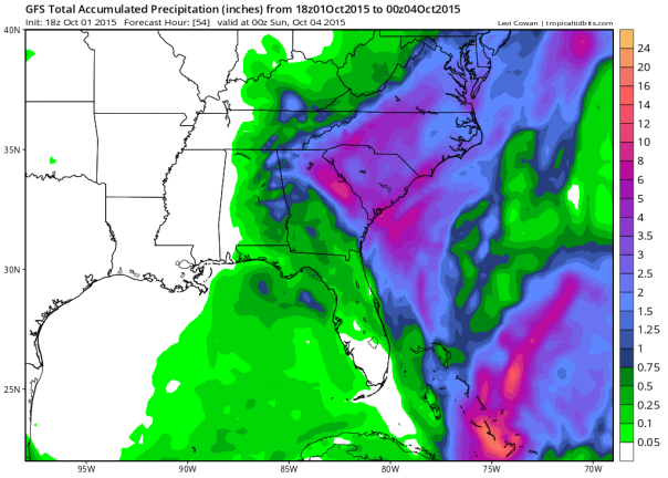 GFS rainfall through 8pm Saturday/Tropical Tidbits