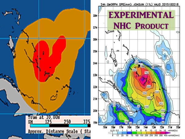 Left: Past Joaquin tropical storm force winds in orange and hurricane force winds in red. Right: NHC experimental 24 hour rainfall ending at 02/18z