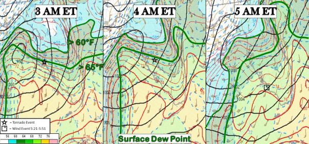 SPC mesoanalysis of dew point(°F) during the morning hours of January 17th, 2016